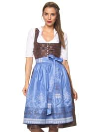 """Turi Landhaus Midi-Dirndl """"Fiona"""" in Braun/ Blau"""