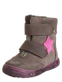 Richter Shoes Leder-Boots in Grau/ Pink