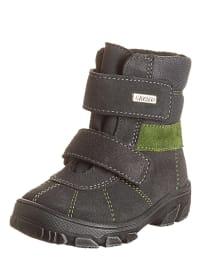 Richter Shoes Leder-Boots in Anthrazit/ Grün