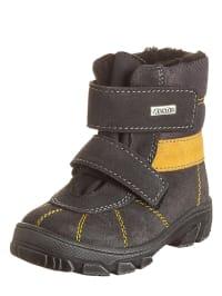 Richter Shoes Leder-Boots in Anthrazit/ Gelb