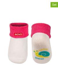 SOXO 2er-Set: ABS-Socken in Weiß/ Pink