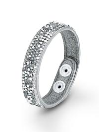 S. Oliver Leder-Armband mit Swarovski Elements in Silber