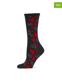 Hot Sox 2er-Set: Socken in Schwarz/ Rot