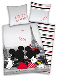 """Herding Mikrofaser-Bettwäsche-Set """"Mickey & Minnie in Paris"""" in Grau/ Rot"""