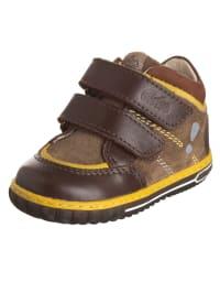 Aster Leder-Sneakers in Braun/ Gelb