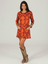 Aller Simplement Kleid in Orange/ Braun