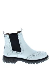 Bronx Leder-Chelsea-Boots in Weiß/ Schwarz