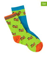 Der kleine Drache Kokosnuss 2er-Set: Socken in Grün/ Blau