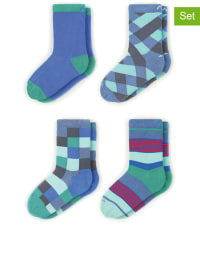 "MINGA BERLIN 4er-Set: Socken ""Denim"" in Blau/ Hellblau/ Grün"
