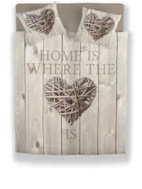 """Ambianzz Bedding Mikrofaserflanell-Bettwäsche-Set """"Home Is Wood"""" in Taupe"""