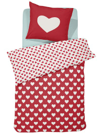 """Damai Bettwäsche-Set """"Hearts"""" in Rot/ Weiß"""