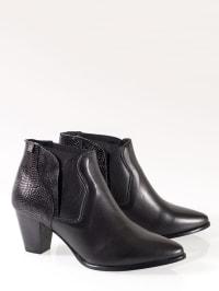ROOBIN'S Leder-Ankle-Boots in Schwarz - 77% H6L5Dq7WV5