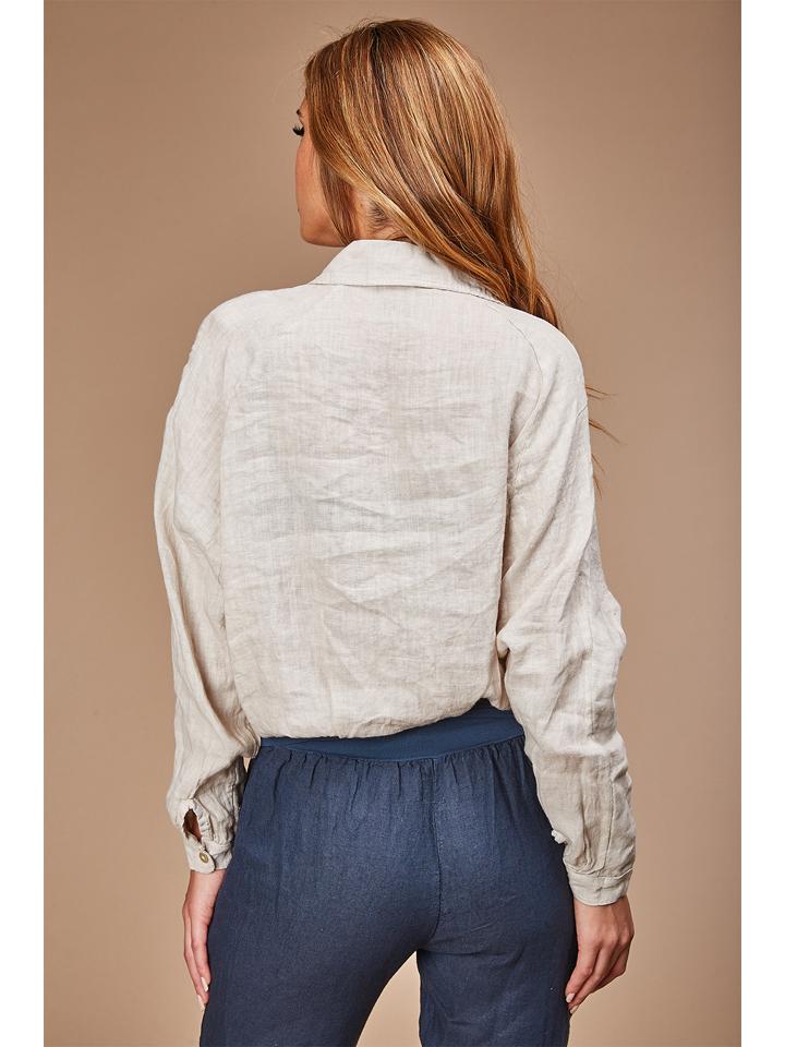 100% LIN Leinen-Bluse in Beige günstig kaufen