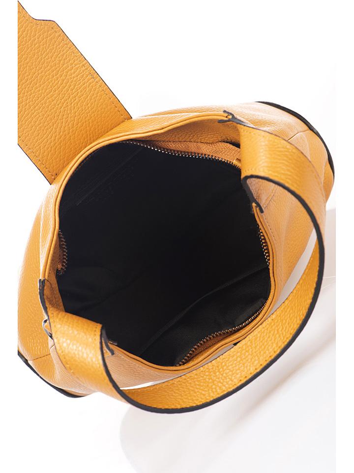 Lisa Minardi Leder-Schultertasche in Cognac - (B)32 x (H)17 x (T)9 cm günstig kaufen