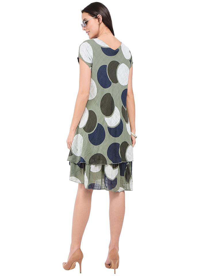 William de Faye Leinen-Kleid in Khaki günstig kaufen