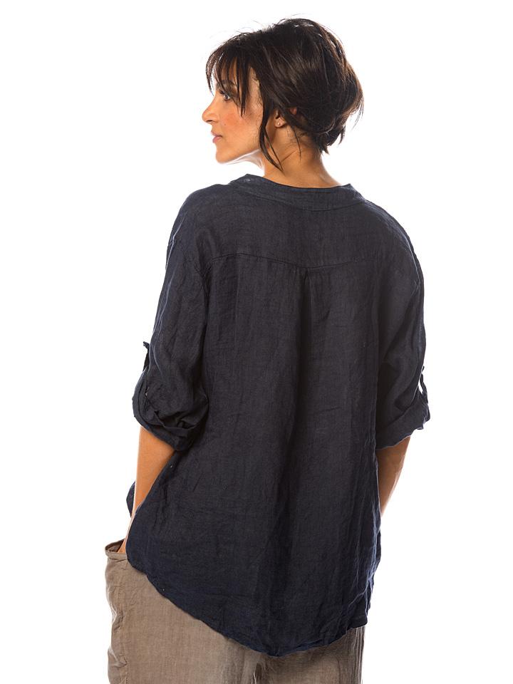 100% Linen Leinen-Bluse