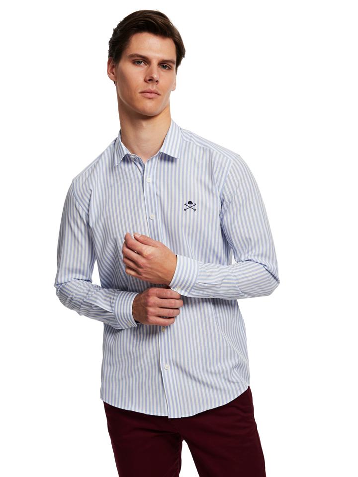 Polo Club Hemd - Custom fit - in Hellblau/ Weiß günstig kaufen