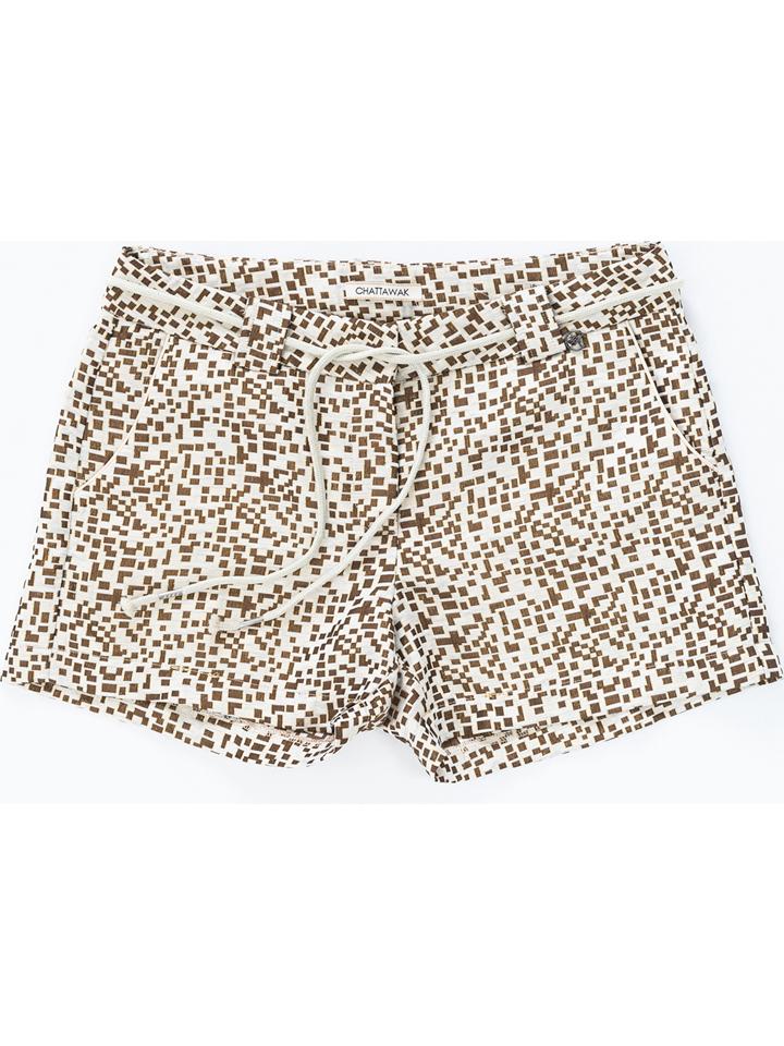 Chattawak Shorts in Weiß/ Taupe günstig kaufen