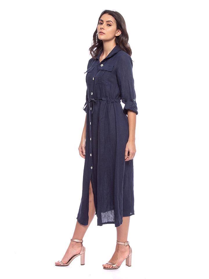 Lin Passion Leinen-Kleid in Dunkelblau günstig kaufen