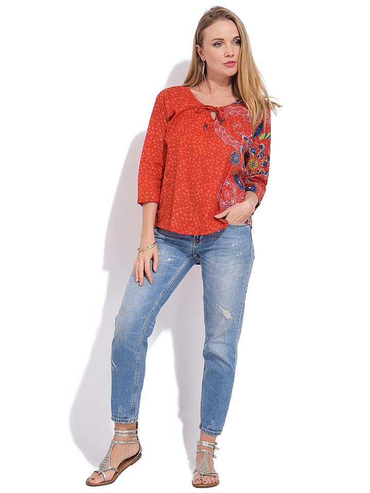 Namaste Bluse in Rot/ Bunt günstig kaufen