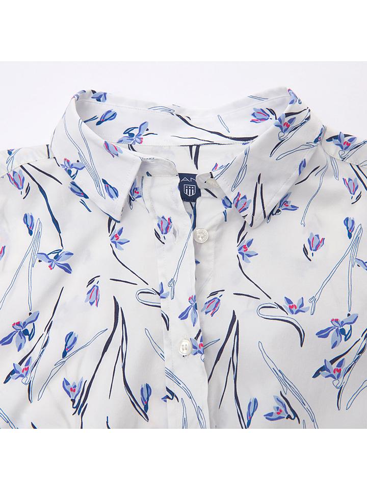 Gant Bluse - Slim fit - in Weiß/ Blau günstig kaufen